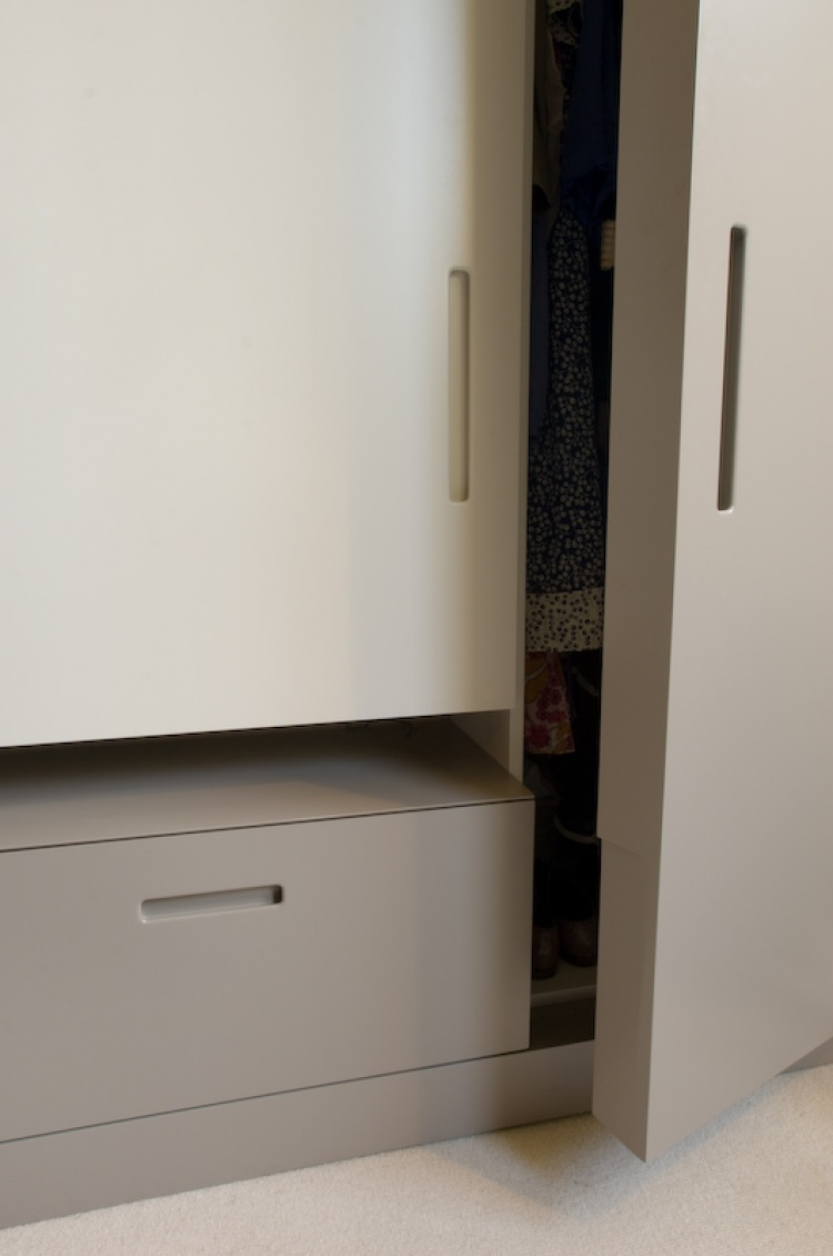 12 drawer unit with double wardrobe hanging space and shoe storage
